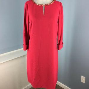 Tahari S 6 red Crepe Shift dress 3/4 sleeve Career
